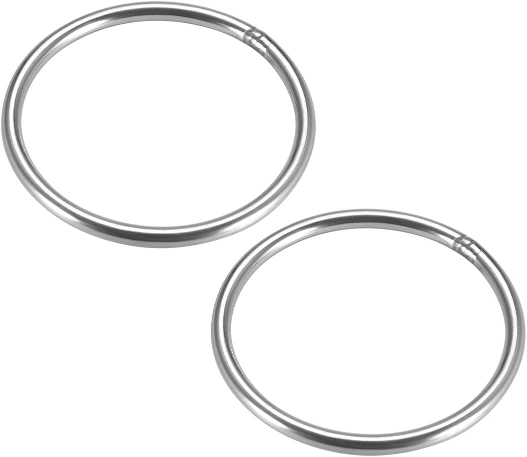 uxcell Stainless Steel O Ring 60mm Outer Diameter 6mm Thickness Strapping Welded Round Rings 2pcs
