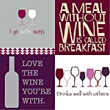 FAKKOS Design Wine Cocktail Napkins Funny Phrases Variety Pack 80 total napkins Red White