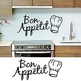Hatop 1PC Vinyl Wall Stickers Quote Bon Appetit Dinning Room Decor Kitchen Decals Art