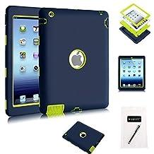 iPad 4 Case, iPad 3 Case,iPad 2 Case - MAKEIT 3in1 Hybrid Shockproof Case For iPad 2 3 4 (Purplish Blue/Fluorescence Green)
