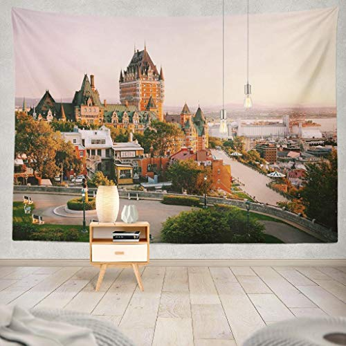 KJONG Castle Old Quebec City Beautiful Sunrise Light Quebec City Canada Old Decorative Tapestry,60X80 Inches Wall Hanging Tapestry for Bedroom Living Room ()