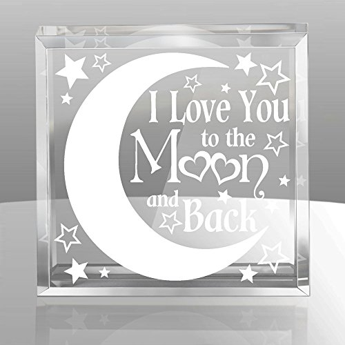 Kate Posh - I love you to the moon and back - Keepsake & (Keepsake Glass Paperweight)