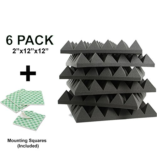 6-pk-2x12x12-soundproofing-foam-kit-acoustic-pyramid-spikes-tiles-studio-foam-sound-wedges-with-doub