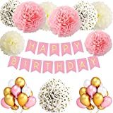 TopDeko Birthday Decorations Girls and Boys, Birthday Decorations Pink and Blue with HAPPY BIRTHDAY Banner, 9Pcs Tissue Paper Pom Pom Flowers, 30Pcs Balloons - Pink and Blue (Pink)