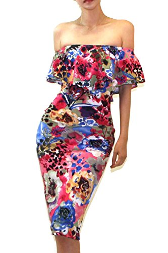 Women's Ruffle Off Midi Dress Fitted Multi Shoulder G62 Bodycon Vivicastle StdwqS