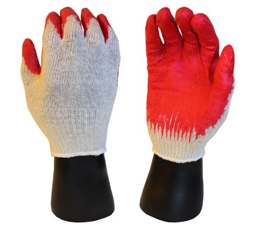 300 pairs, Latex Coated Work Gloves- Natural 10 Gauge Cotton/Poly Orange Latex Palm (Large)