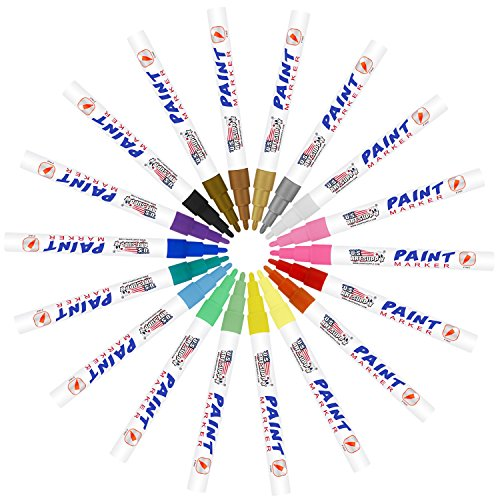 U.S. Art Supply Set of 36 Oil Based Paint Pen Markers (18 Colors - Both Medium and Fine Point Tip Sets)
