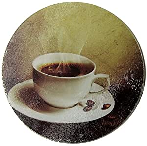 (Round) - Kitchen Concepts Coffee Cup Tempered Glass Cutting Board (Round)