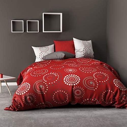 Juego de Funda nórdica de 220 x 240 cm, 100% algodón de 57 Hilos, diseño de Hermina, Color Rojo: Amazon.es: Hogar