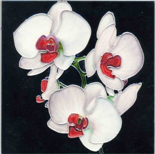 Continental Art Center BD-2079 8 by 8-Inch Three White Orchids with Red Center Ceramic Art Tile - White Glazed Ceramic Tile