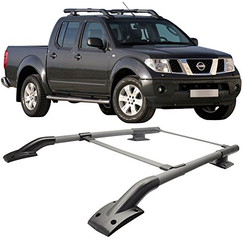 Roof Rack Cross Bars Fits 2005-2017 NISSAN FRONTIER 4DOOR | OEM Style Aluminum BlackRoof Top Bar Luggage Carrier by IKON MOTORSPORTS | 2006 2007 2008 2009 2010 2011 2012 2013 2014 2015 2016 Standard Roof Rack