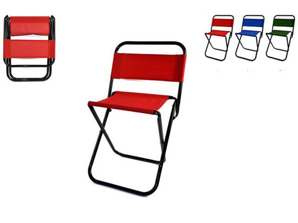 Vetrineinrete/® Sgabello Pieghevole per Pesca e Campeggio Sedia con Schienale Max 85 kg Pratica e Comoda da Portare in Giro sedie da Spiaggia Vari Colori F27