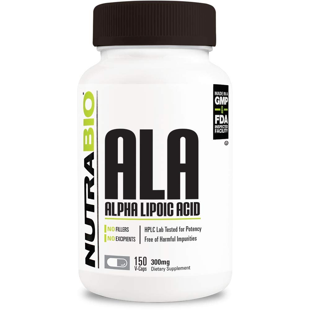 NutraBio Alpha Lipoic Acid (ALA) 300 mg - 150 Vegetable Capsules