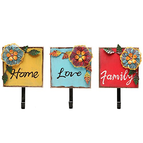 """""""Family, Home, Love"""" Wood & Metal Tropical Flowers Wall Coat / Key Hooks (Set of 3: Red / Yellow / Blue)"""