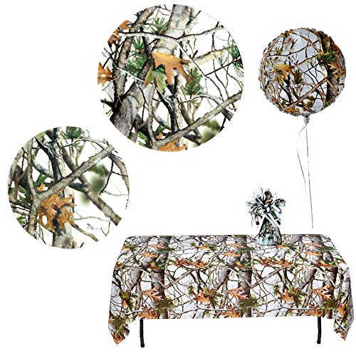 Havercamp White Camo Party Bundle | Dinner & Dessert Plates, Luncheon Napkins, Table Cover, Balloons, Balloon Weight | Great for Rustic Wedding, Bridal Shower, Bachelor's Party, Birthday Bash -