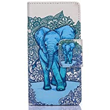 iPhone 5 Case, iPhone 5S Case,WIITOP Design Dual Use Flip PU Leather Fold Wallet Pouch Case Premium PU Leather Wallet Flip Case for Apple iPhone 5,iPhone 5S (Elephant)With Stylus