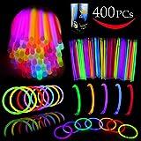 """Joyin Toy Glow Sticks Bulk 400 8"""" Glowsticks (Total 800 Pcs 7 Colors); Glow Stick Bracelets; Glow Necklaces Party Favors Pack with 400 Bracelet Connectors."""