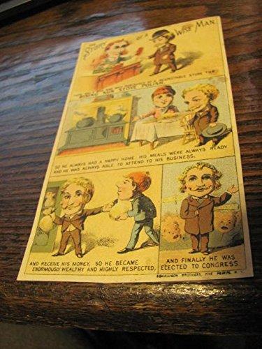 vintage cartoon Victorian trade card, RISING SUN STOVE POLISH, circa 1890s