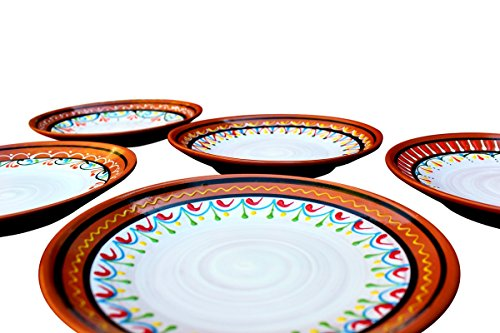 Terracotta White Small Dinner Plates Set of 5 (European Size) - Hand Painted From Spain ()