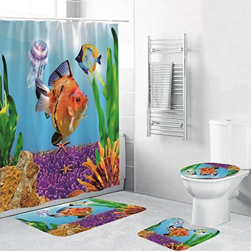 Beyonds Bathroom Mat Sets 4 Piece, Underwater World Coral Carpet Doormats Decor Shower Curtain and Rugs Bath Mat for tub Kids Floor, Non-Slip Fish Dolphin sea Turtle Ocean