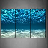 Image of Print Artwork Blue Ocean Sea Wall Art Decor Poster Artworks For Homes 3 Panel Canvas Prints Picture Seaview Bottom View Beneath Surface Pictures Painting On Canvas Modern Seascape Home Office Decor