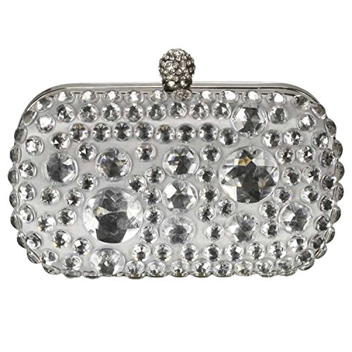 Boxed Satin Boxed Crystal Sparkly Chain Gift Evening A Long Gift With Clutch Bag Silver qwY5YB