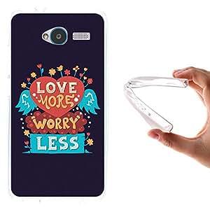 Funda ZTE Blade L3, WoowCase [ ZTE Blade L3 ] Funda Silicona Gel Flexible Frase - Love More Worry Less, Carcasa Case TPU Silicona - Transparente