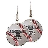 Earring Circle Charm Baseball Equals Life