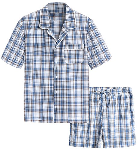 Tan Short Set - Latuza Men's Cotton Woven Short Sleepwear Pajama Set XXL Blue & Tan