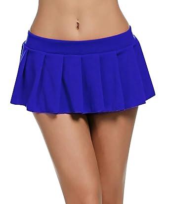 Feoya Sexy Mini Rock Schulmädchen Skirt Damen Kurz Minirock Röcke Frauen Sexy Dessous Solid gefaltet Nachtwäsche Reizvolle