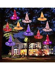 Halloween-decoraties 5 stuks verlichte hangende heksenhoeden, hangend met lichtgevende heksenhoed string batterij, voor het dragen of buitendecoraties tuin, tuin, boom, cosplay rekwisieten