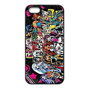 LeonardCustom- Cartoon Monster High Protective Hard Rubber Coated Phone Cover Case for iPhone 5 & 5S [Black / White] -LCI5U525