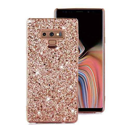 Galaxy Note 9 Case, Ranyi Full Body Glitter Sparkle Bling Shiny Rhinestone Design Slim Electroplated TPU Bumper Shock Absorbing Protective Case Cover for Samsung Galaxy Note 9 (2018), Rose Gold