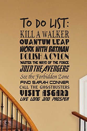 CUSTOMIZABLE To Do List Geek wall decal V3 vinyl wall decal fandom Fantasy cosplay fandom nerd geekery storybook nursery