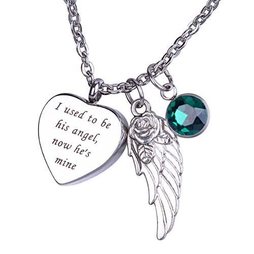 Heart Urn Keepsake with May Birthstone Angel's Wing Pendant Necklace Memorial Ash Cremation Jewelry - I used to be his angel, now he's mine ()