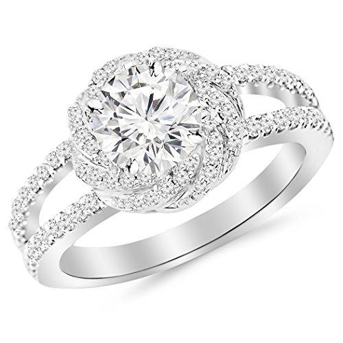 2.51 Carat t.w. ROUND Shape/Center Silver Pave Set Halo Style Floral Split Shank CZ Engagement Ring -