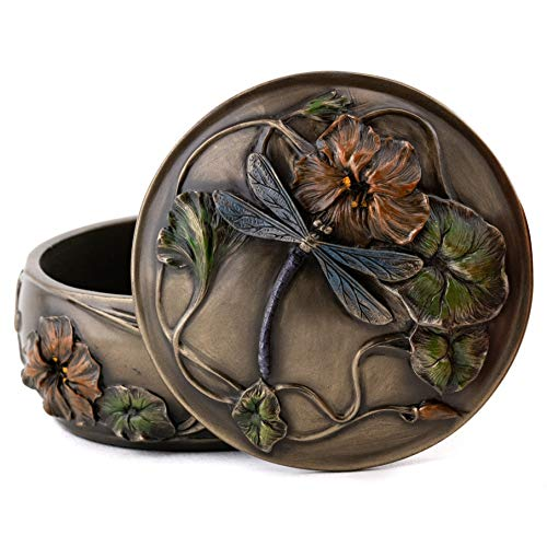 Top Collection Decorative Art Nouveau Dragonfly Jewelry Box - Hand Painted French Keepsake Accessory Storage Holder in Premium Cold Cast Bronze - 2-Inch Collectible Trinket Box (French Bronze Dragonfly Tea Lantern)