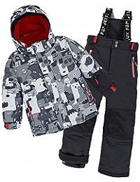 Deux par Deux Boys' 2-Piece Snowsuit Mechant Look Black, Sizes 4-10