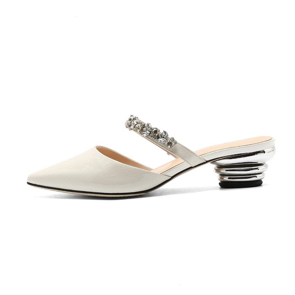 YXLONG Leder-Trend-Frauen Sandalen und Hausschuhe Sommer Neue Europa und Die Vereinigten Staaten Mode Diamant-Beschichtung mit Spitzer Fauler Damenschuhe  36|white