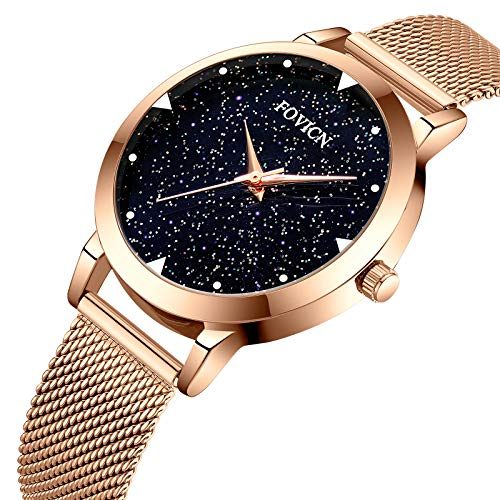 Watches,Women Fashion Luxury Wrist Watches for Women Business Dress Casual Waterproof Quartz Watch for Stainless Steel Mesh Band and Starlight Dial ()