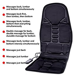 Zone Tech 2-in-1 Car Seat Cushion - Black Premium Quality 12V Automotive Adjustable Temperature Comfortable Heating, 8 Function Massaging Car Seat Cushion