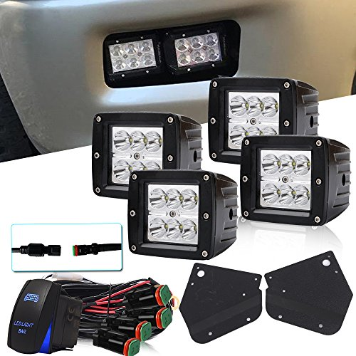 DOT 4PCS 3x3 Inch Pods Cube Spot Led Lights + 1x Lower Bumper Fog Light Mounting Brackets + 1x Rocker Switch + 1x DT Connector Wiring Harness For 2010 2011 2012 2013 2014 Ford F150 SVT Raptor