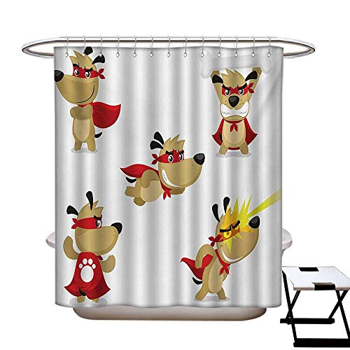 Dog Polyester Fabric Shower Curtain Liner Superhero Puppy with Paw Costume and Mystic Powers Laser Vision Supreme Talents No Chemical Odor,Rust Proof Grommets Holes Red Cream -