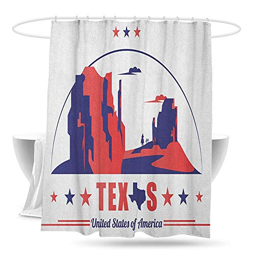 Travel Shower Curtain Texas Star Texas State Map with Cowboy Silhouette Among Canyons Desert Design Bathroom Decoration W70×L70 Indigo and Dark Coral