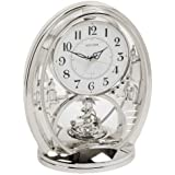 Rhythm Cont Mantel Clk Oval Silver/Arabic Dial/Rotating Pend