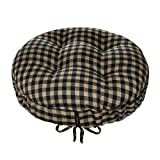 Checkers Black & Tan Round Barstool Cushion with Drawstring Yoke - Size Extra-Large - Latex Foam Fill Bar Stool Pad (Black/Neutral, XL)