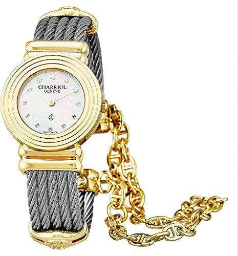 Charriol St-Tropez Art Deco Womens Plated Yellow Gold Watch - 24mm Analog Mother of Pearl Face Stainless Steel Swiss Luxury Dress Watch for Women 028LY.540.326 ()