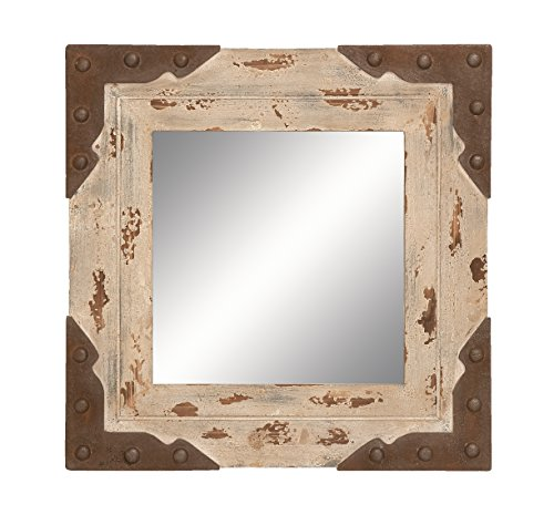 Deco 79 56082 Antique Looking Glass Mirror with Square Wood Frame, 24