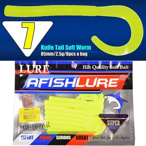Fishing Lures - 8pcs/lot Afishlure Fishing Lure Knife Tail Soft Worm 2.5g 85mm Silicon Grubs Baits Simulation Moggot Carp Fishing Tackle - (Color: Color7)