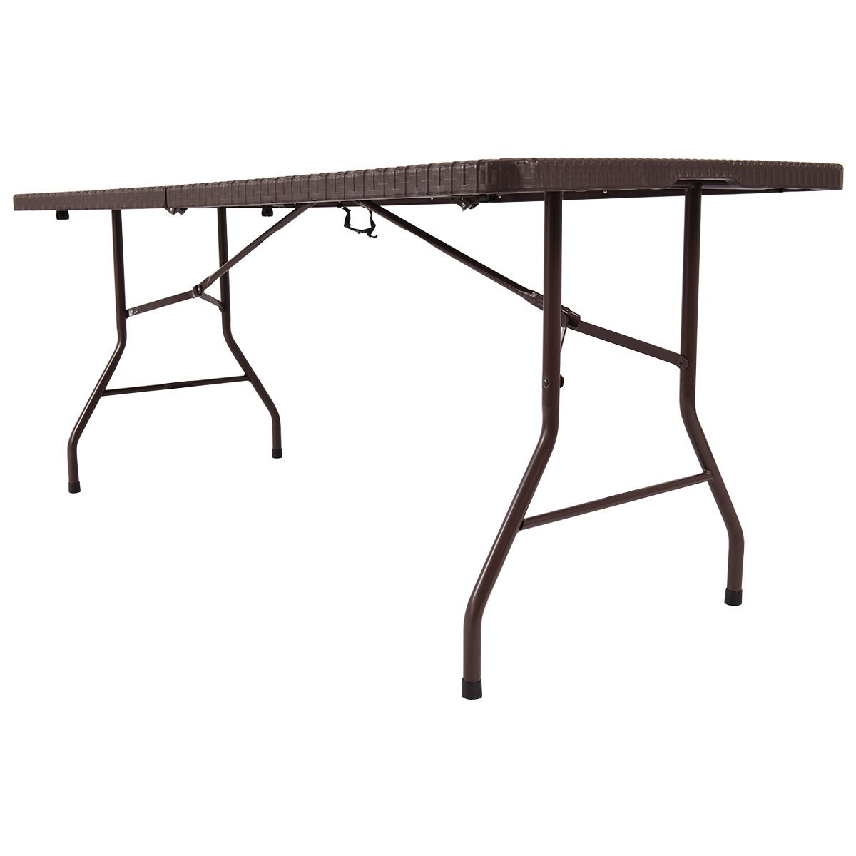 TANGKULA 6u0027 Center Folding Table Portable Rattan Design Indoor Outdoor Use  With Carrying Handle   Folding Table U003c Tables U003c Sports U0026 Outdoors   TIBS